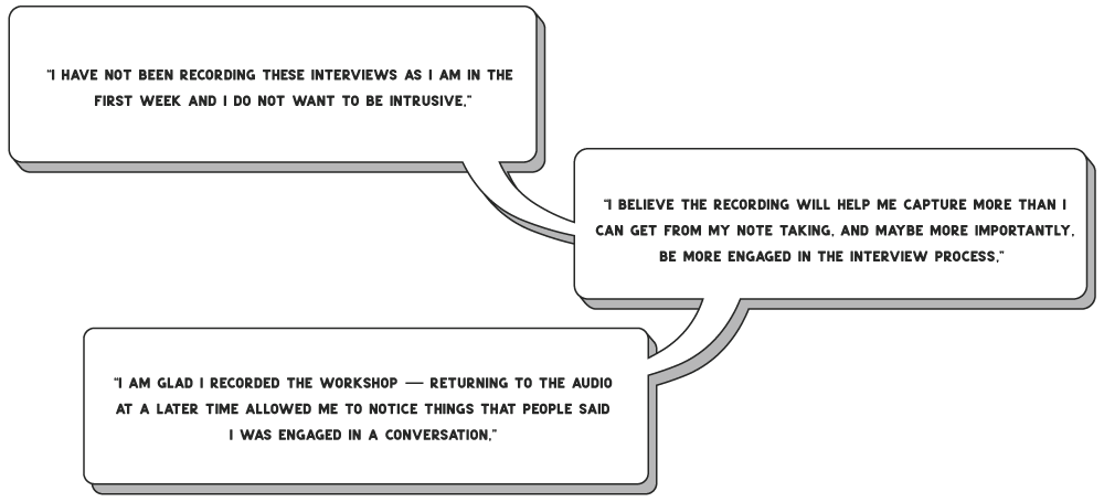 Excerpts from research memos commenting on audio recording